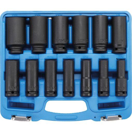 """BGS technic 13 részes 1/2""""-os hosszított dugógej készlet légkulcshoz, méretek: 7/16"""" - 1 1/4"""" (BGS 5208)"""